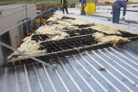 Damaged roof of factory