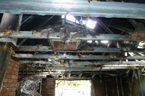 Interior view of Fire Damage to Garage