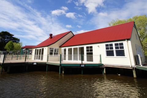 Completed boathouse - view from lake